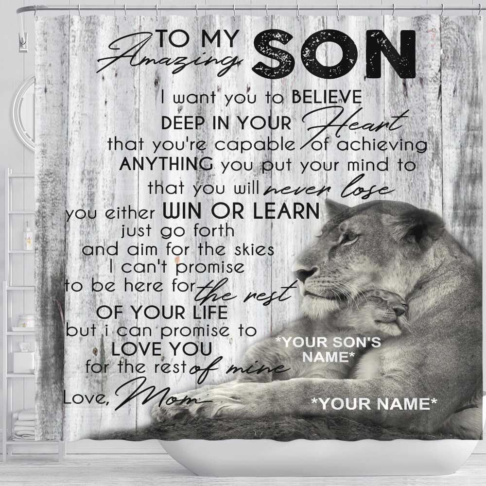 Personalized Shower Curtain 71 X 71 Inch To My Lion Son You're Capable Of Achieve Anything You Put Your Mind To Set 12 Hooks Decorative Bath Modern Bathroom Accessories Machine Washable