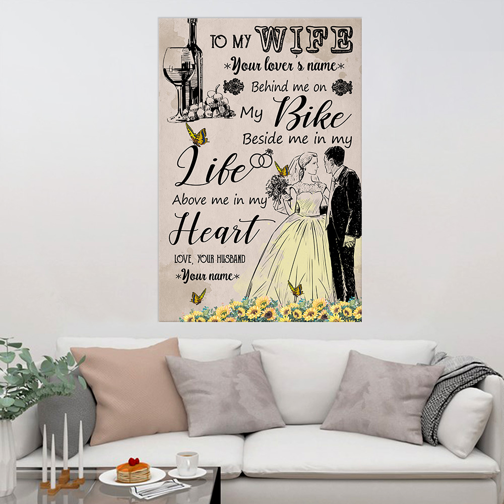 Personalized Wall Art Poster Canvas 1 Panel To My Wife In My Life Above Me In My Heart Pattern 2 Great Idea For Living Home Decorations Birthday Christmas Aniversary