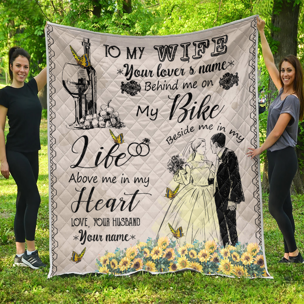 Personalized Quilt Throw Blanket To My Wife In My Life Above Me In My Heart Pattern 2 Lightweight Super Soft Cozy For Decorative Couch Sofa Bed
