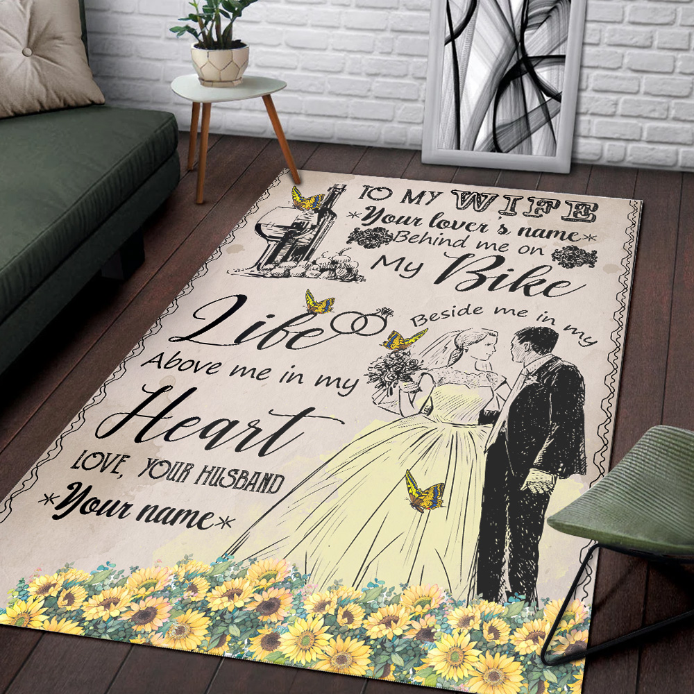 Personalized Floor Area Rugs To My Wife In My Life Above Me In My Heart Pattern 2 Indoor Home Decor Carpets Suitable For Children Living Room Bedroom Birthday Christmas Aniversary