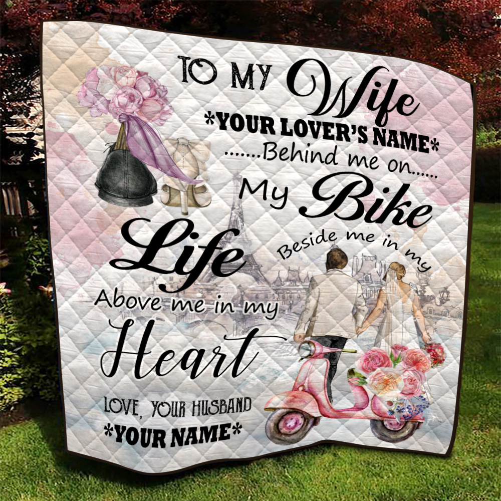 Personalized Quilt Throw Blanket To My Wife In My Life Above Me In My Heart Pattern 1 Lightweight Super Soft Cozy For Decorative Couch Sofa Bed