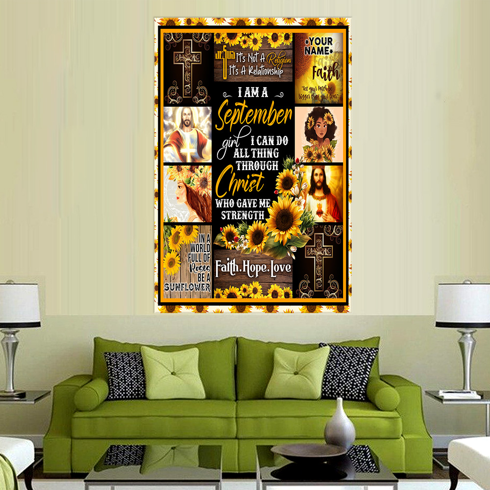 Personalized Wall Art Poster I Am A September Girl I Can Do All Thing Through Christ Who Gave Me Strength Pattern 2 Prints Decoracion Wall Art Picture Living Room Wall