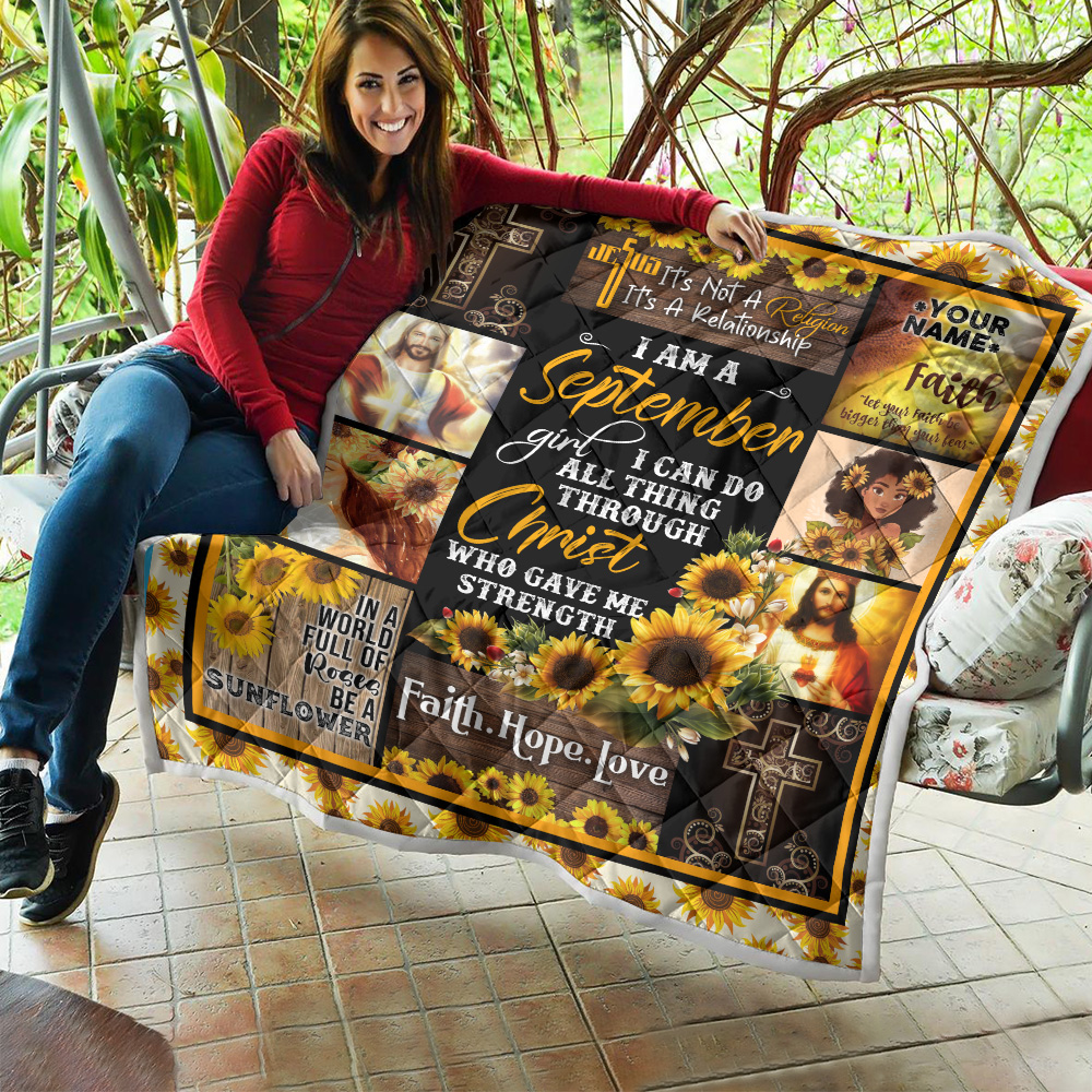 Personalized Quilt Throw Blanket I Am A September Girl I Can Do All Thing Through Christ Who Gave Me Strength Pattern 2 Lightweight Super Soft Cozy For Decorative Couch Sofa Bed