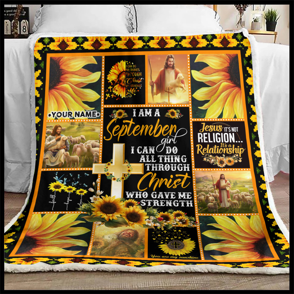 Personalized Fleece Throw Blanket I Am A September Girl I Can Do All Thing Through Christ Who Gave Me Strength Pattern 1 Lightweight Super Soft Cozy For Decorative Couch Sofa Bed