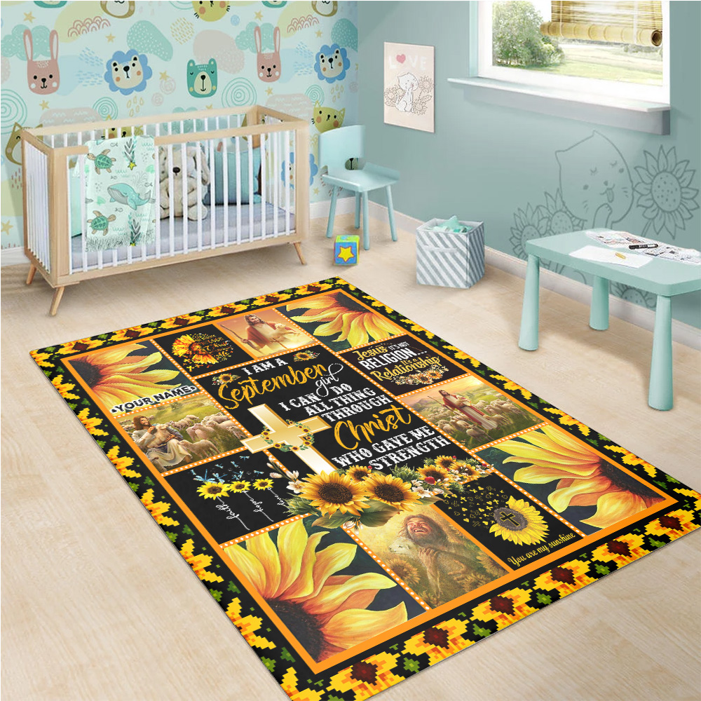 Personalized I Am A September Girl I Can Do All Thing Through Christ Who Gave Me Strength Pattern 1 Vintage Area Rug Anti-Skid Floor Carpet For Living Room Dinning Room Bedroom Office