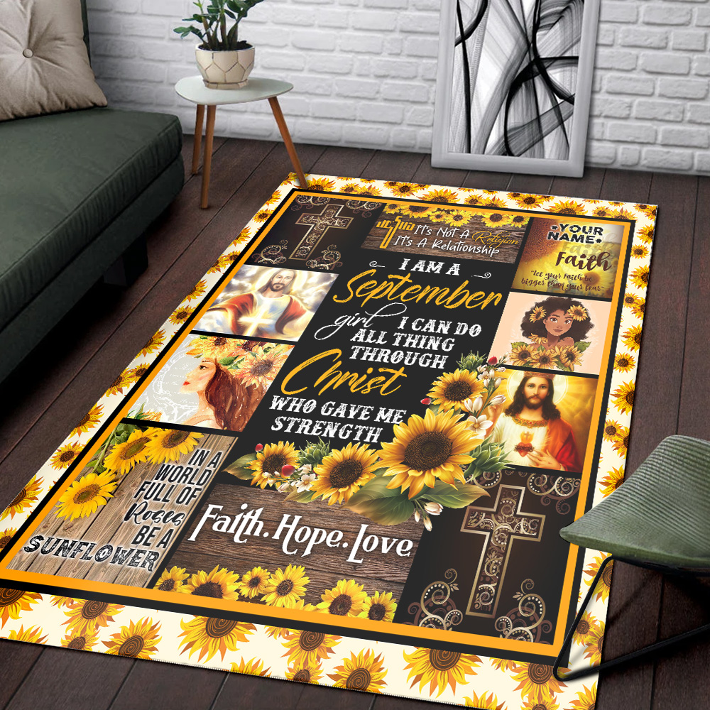 Personalized I Am A September Girl I Can Do All Thing Through Christ Who Gave Me Strength Pattern 2 Vintage Area Rug Anti-Skid Floor Carpet For Living Room Dinning Room Bedroom Office