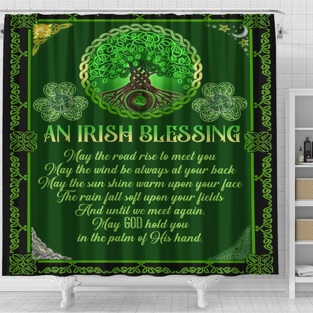 Personalized Lovely Shower Curtain St Patrick's Day An Irish Blessing Pattern 1 Set 12 Hooks Decorative Bath Modern Bathroom Accessories Machine Washable