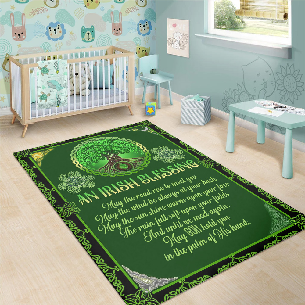 Personalized Lovely St Patrick's Day An Irish Blessing Pattern 1 Vintage Area Rug Anti-Skid Floor Carpet For Living Room Dinning Room Bedroom Office
