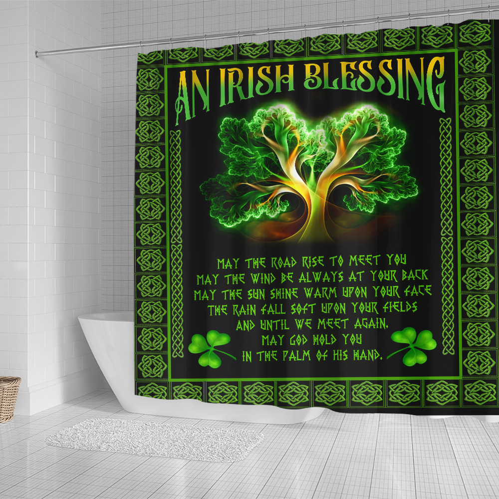 Personalized Lovely Shower Curtain St Patrick's Day An Irish Blessing Pattern 2 Set 12 Hooks Decorative Bath Modern Bathroom Accessories Machine Washable