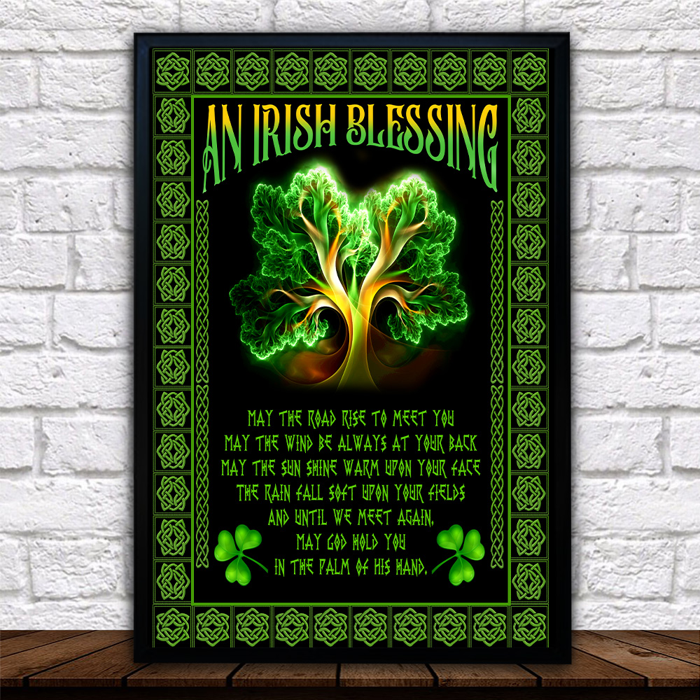Personalized Lovely Wall Art Poster St Patrick's Day An Irish Blessing Pattern 2 Prints Decoracion Wall Art Picture Living Room Wall