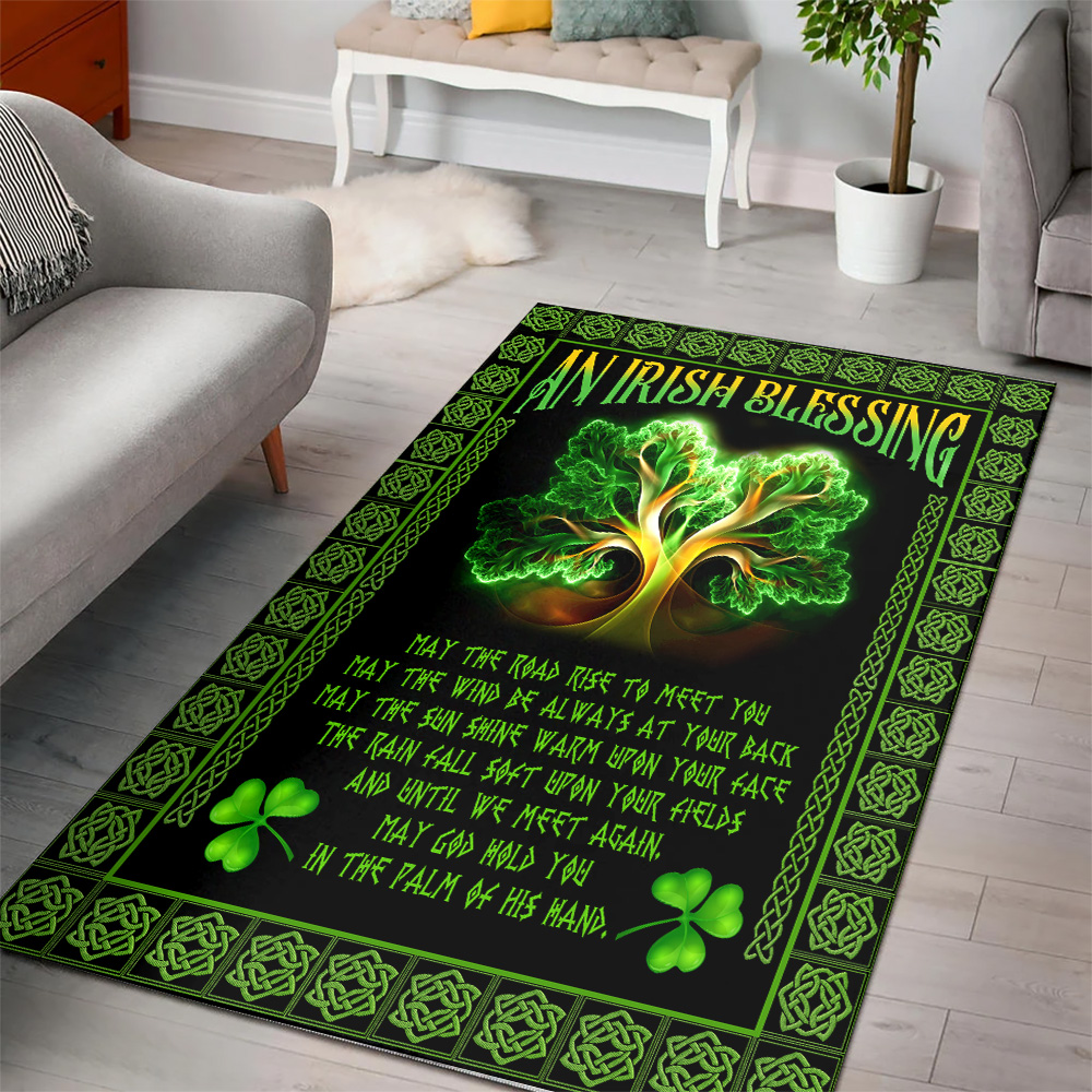 Personalized Lovely St Patrick's Day An Irish Blessing Pattern 2 Vintage Area Rug Anti-Skid Floor Carpet For Living Room Dinning Room Bedroom Office