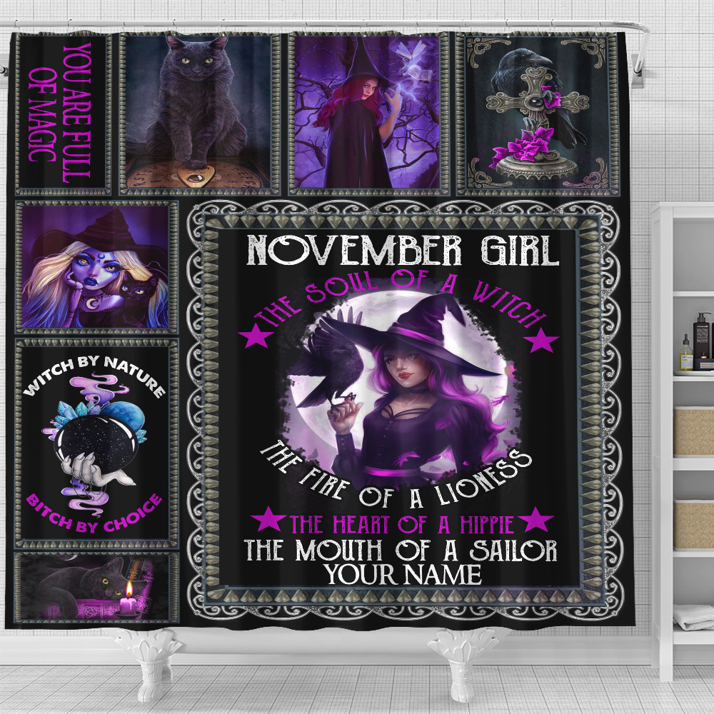 Personalized Shower Curtain November Girl The Soul Of A Witch  Pattern 1 Set 12 Hooks Decorative Bath Modern Bathroom Accessories Machine Washable