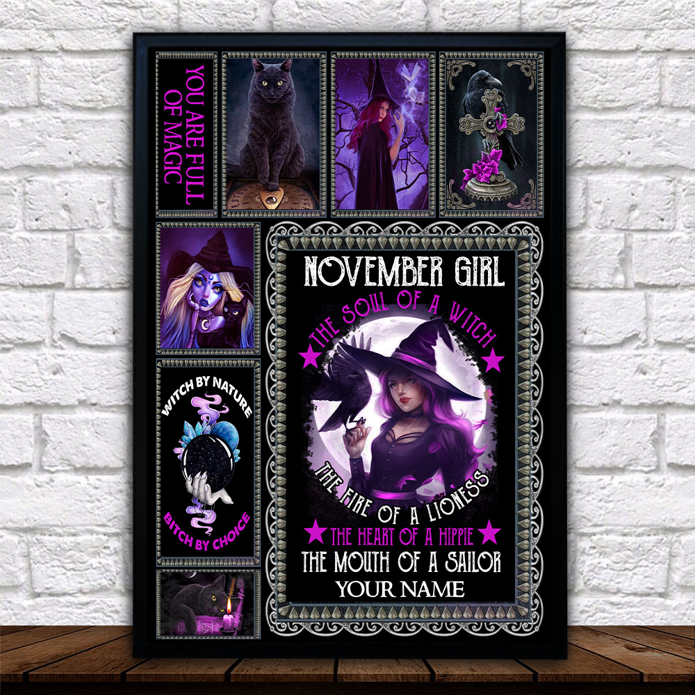 Personalized Wall Art Poster November Girl The Soul Of A Witch Pattern 1 Prints Decoracion Wall Art Picture Living Room Wall
