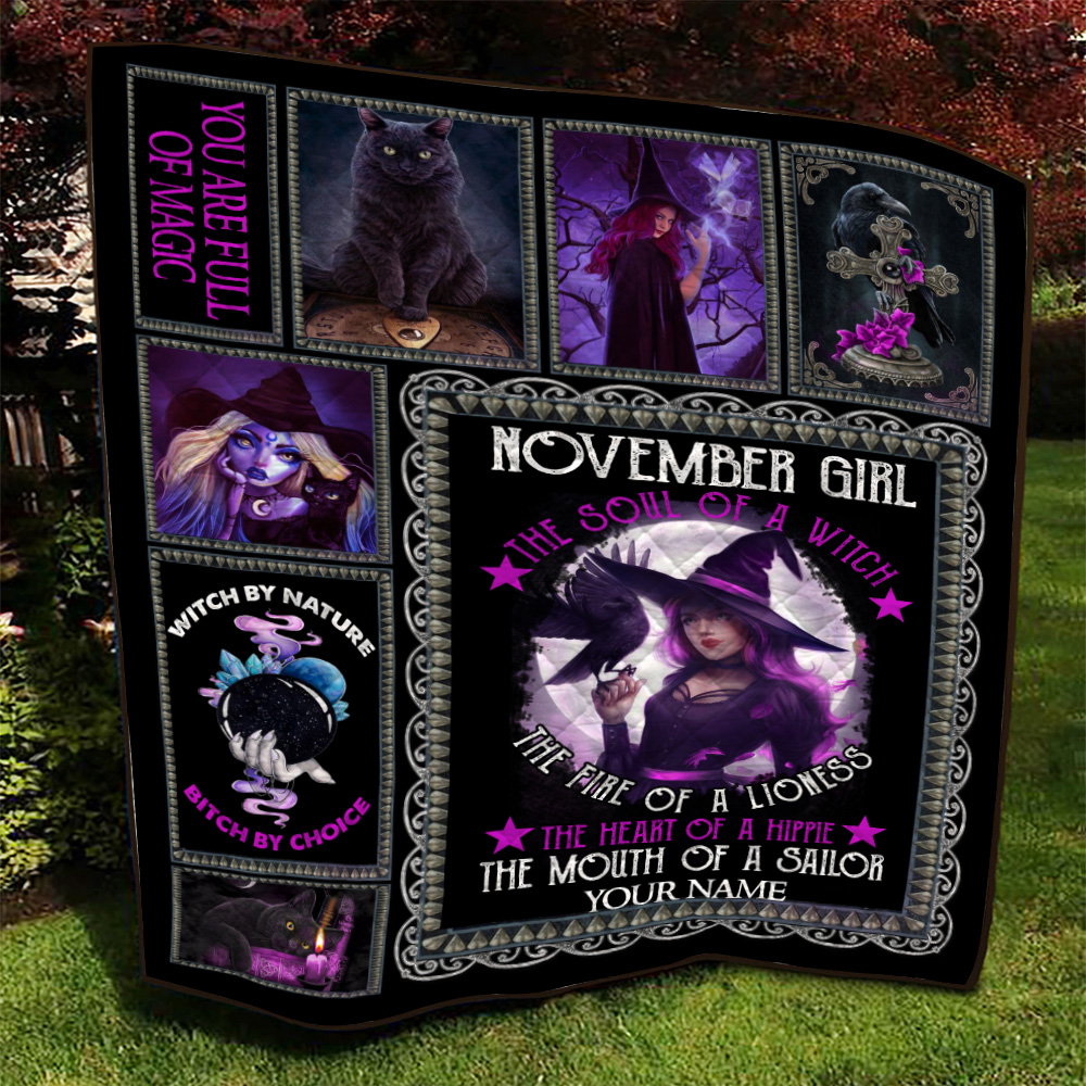 Personalized Quilt Throw Blanket November Girl The Soul Of A Witch Pattern 1 Lightweight Super Soft Cozy For Decorative Couch Sofa Bed