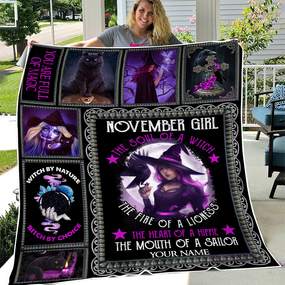 Personalized Fleece Throw Blanket November Girl The Soul Of A Witch Pattern 1 Lightweight Super Soft Cozy For Decorative Couch Sofa Bed