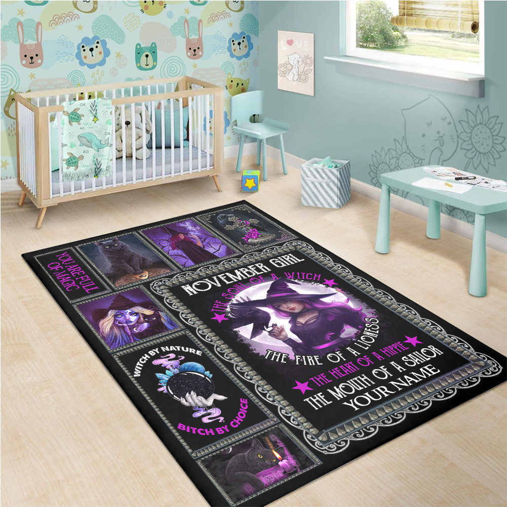 Personalized November Girl The Soul Of A Witch Pattern 1 Vintage Area Rug Anti-Skid Floor Carpet For Living Room Dinning Room Bedroom Office