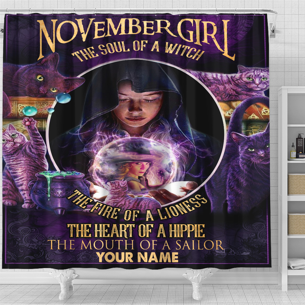 Personalized Shower Curtain November Girl The Soul Of A Witch Pattern 2 Set 12 Hooks Decorative Bath Modern Bathroom Accessories Machine Washable