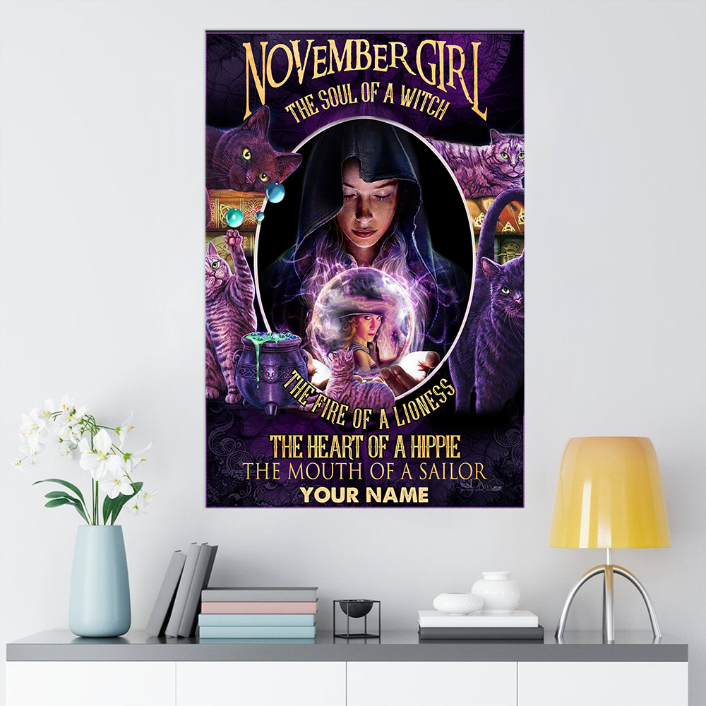 Personalized Wall Art Poster November Girl The Soul Of A Witch Pattern 2 Prints Decoracion Wall Art Picture Living Room Wall