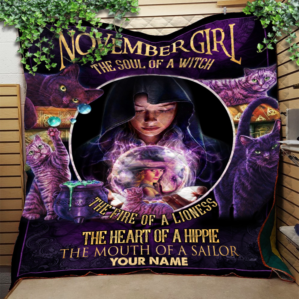 Personalized Quilt Throw Blanket November Girl The Soul Of A Witch Pattern 2 Lightweight Super Soft Cozy For Decorative Couch Sofa Bed