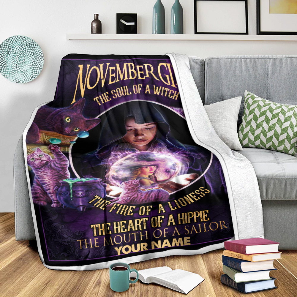 Personalized Fleece Throw Blanket November Girl The Soul Of A Witch Pattern 2 Lightweight Super Soft Cozy For Decorative Couch Sofa Bed