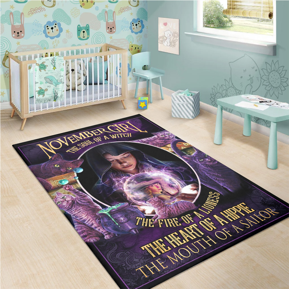 Personalized November Girl The Soul Of A Witch Pattern 2 Vintage Area Rug Anti-Skid Floor Carpet For Living Room Dinning Room Bedroom Office