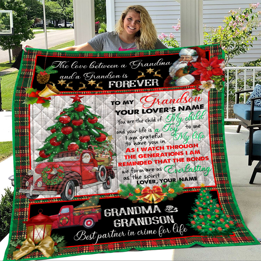 Personalized Quilt Throw Blanket To My Grandson I Am Grateful To Have You In My Life Pattern 1 Lightweight Super Soft Cozy For Decorative Couch Sofa Bed