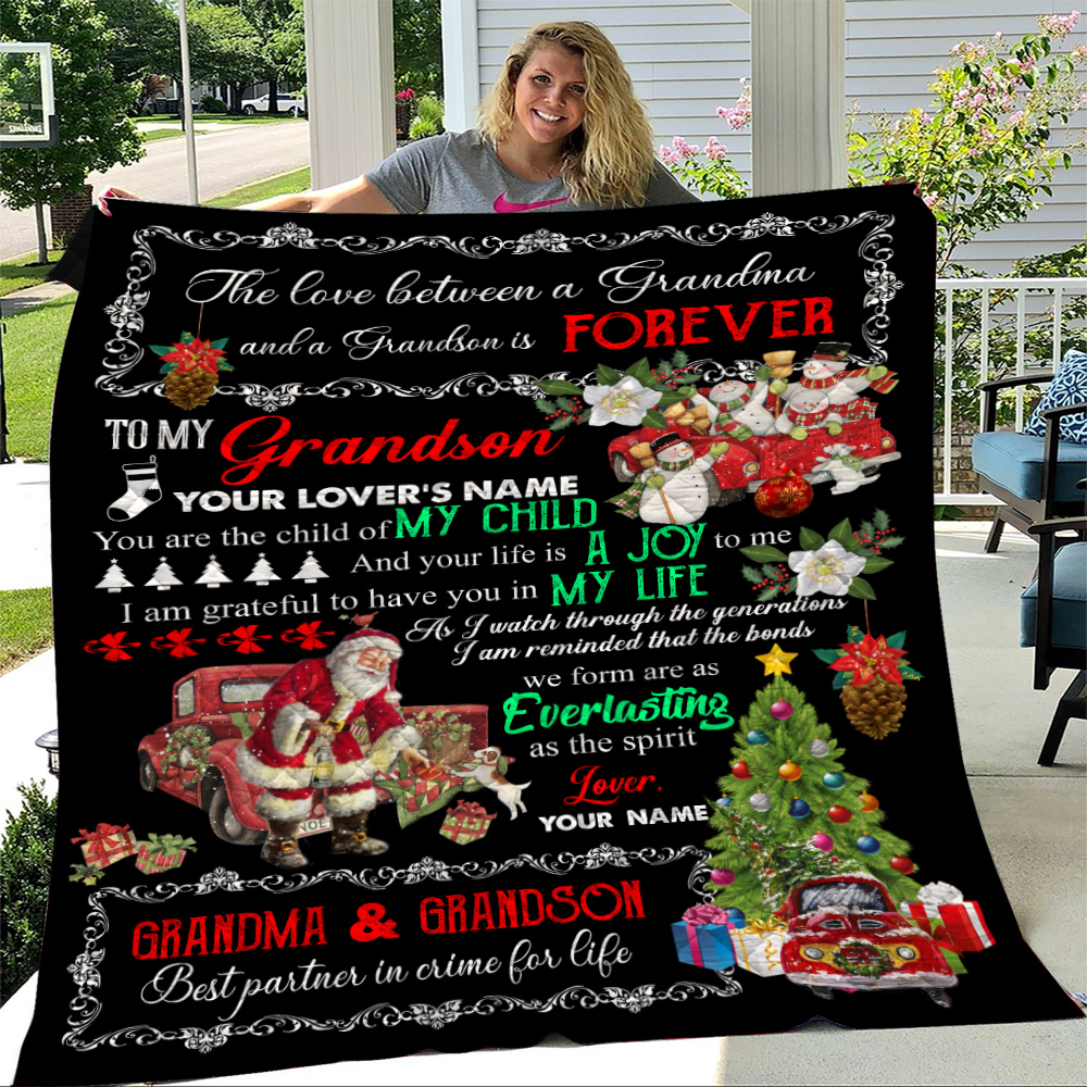 Personalized Quilt Throw Blanket To My Grandson I Am Grateful To Have You In My Life Pattern 2 Lightweight Super Soft Cozy For Decorative Couch Sofa Bed