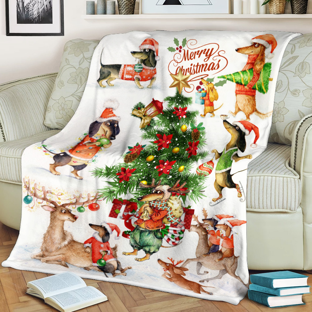 Personalized Fleece Throw Blanket Merry Dachshund Christmas Pattern 1 Lightweight Super Soft Cozy For Decorative Couch Sofa Bed