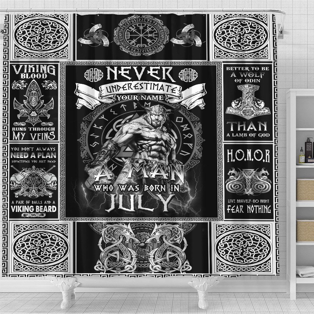 Personalized Shower Curtain Never Underestimate A Man Who Was Born In July Pattern 1 Set 12 Hooks Decorative Bath Modern Bathroom Accessories Machine Washable