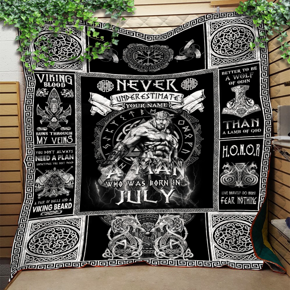 Personalized Quilt Throw Blanket Never Underestimate A Man Who Was Born In July Pattern 1 Lightweight Super Soft Cozy For Decorative Couch Sofa Bed