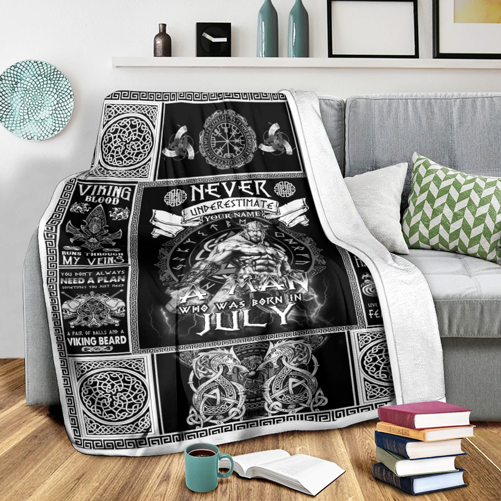Personalized Fleece Throw Blanket Never Underestimate A Man Who Was Born In July Pattern 1 Lightweight Super Soft Cozy For Decorative Couch Sofa Bed