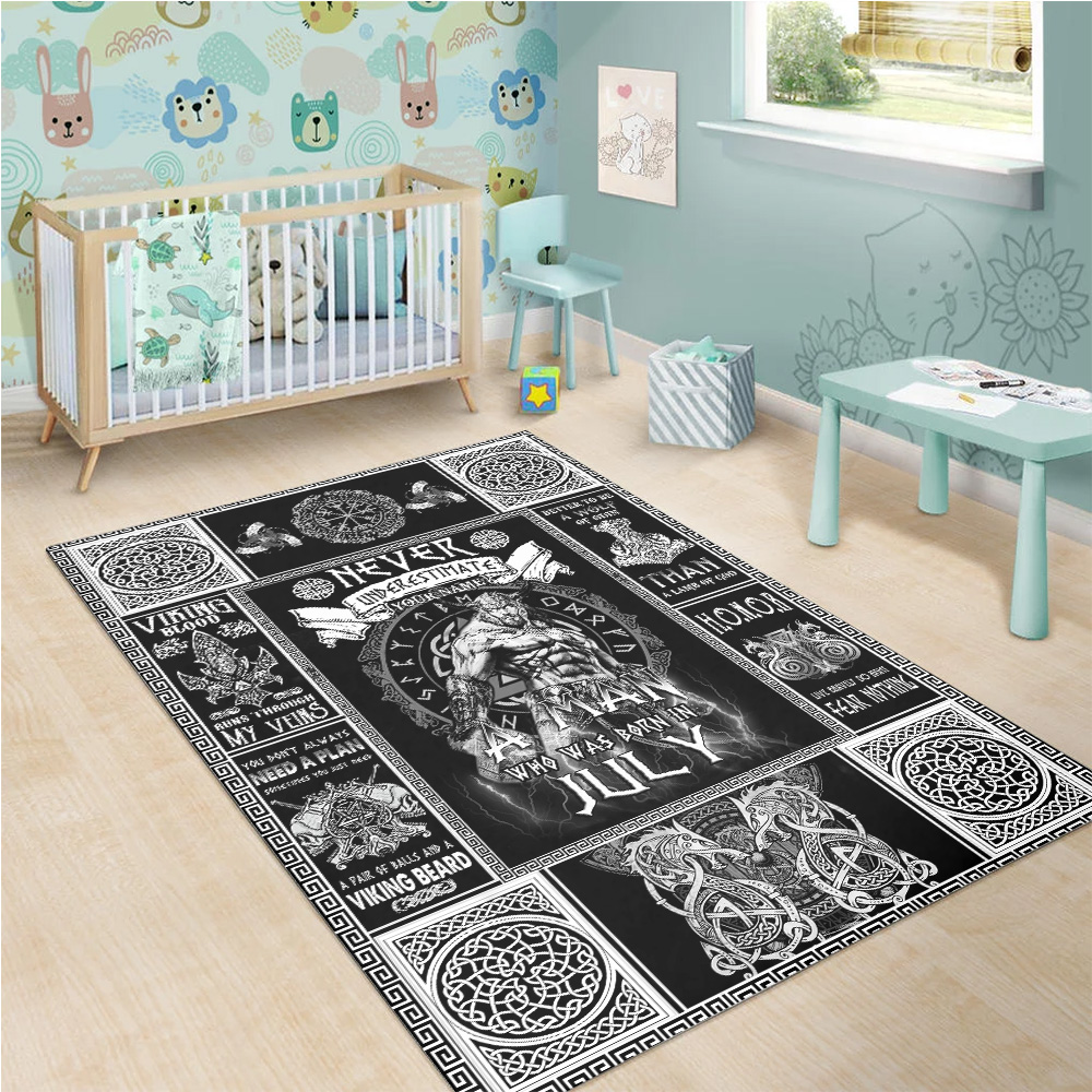 Personalized Never Underestimate A Man Who Was Born In July Pattern 1 Vintage Area Rug Anti-Skid Floor Carpet For Living Room Dinning Room Bedroom Office