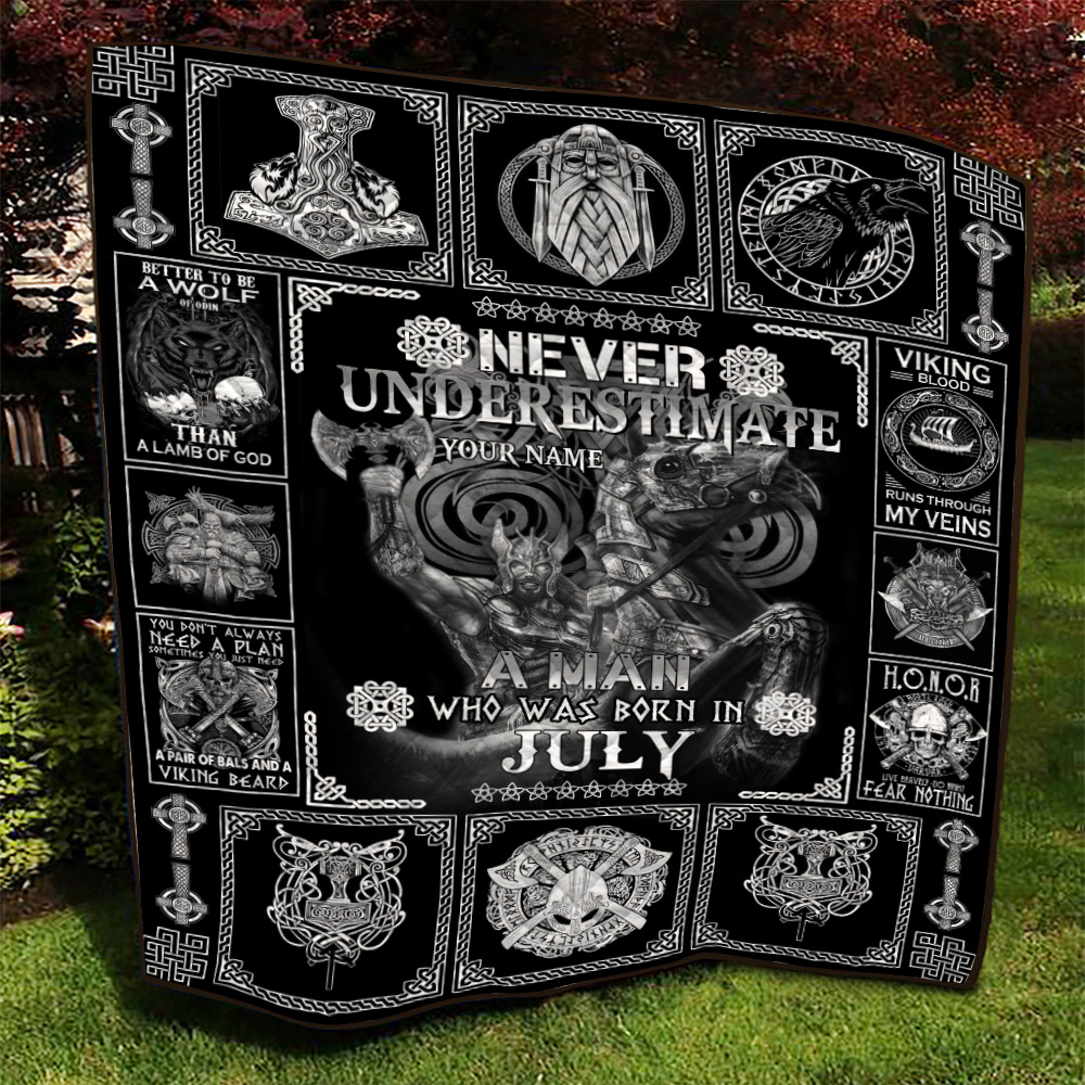 Personalized Quilt Throw Blanket Never Underestimate A Man Who Was Born In July Pattern 2 Lightweight Super Soft Cozy For Decorative Couch Sofa Bed