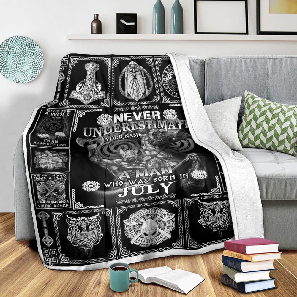 Personalized Fleece Throw Blanket Never Underestimate A Man Who Was Born In July Pattern 2 Lightweight Super Soft Cozy For Decorative Couch Sofa Bed