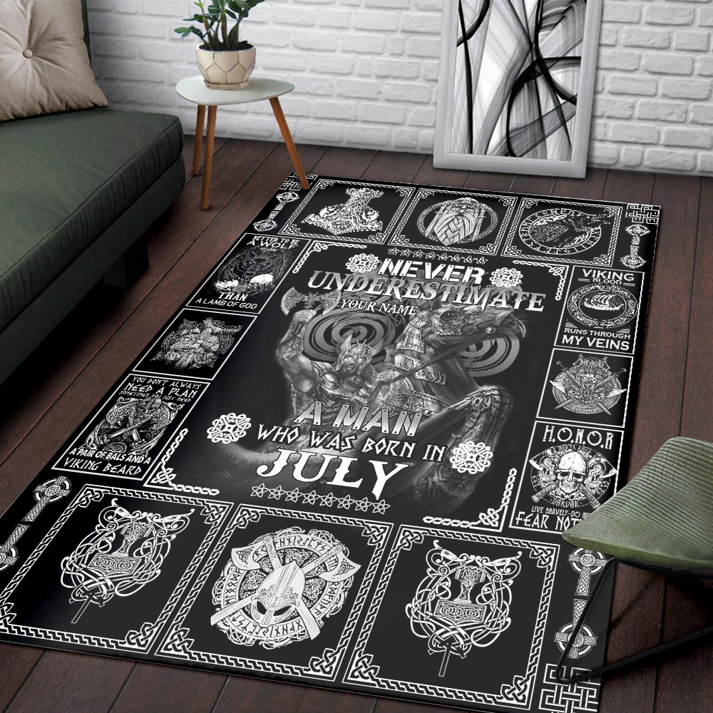 Personalized Never Underestimate A Man Who Was Born In July Pattern 2 Vintage Area Rug Anti-Skid Floor Carpet For Living Room Dinning Room Bedroom Office