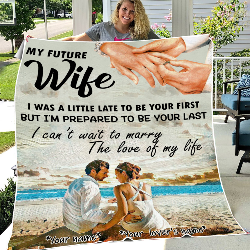 Personalized Fleece Throw Blanket My Future Wife I Can't Wait To Marry The Love Of My Life Pattern 1 Lightweight Super Soft Cozy For Decorative Couch Sofa Bed