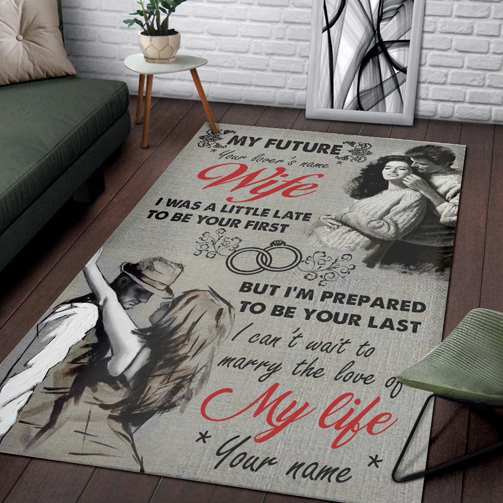 Personalized Floor Area Rugs My Future Wife I Can't Wait To Marry The Love Of My Life Pattern 2 Indoor Home Decor Carpets Suitable For Children Living Room Bedroom Birthday Christmas Aniversary