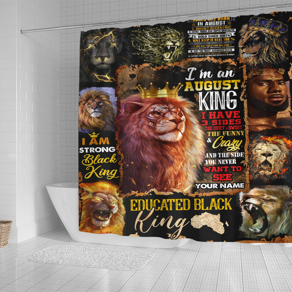 Personalized Shower Curtain I'm An August King Pattern 1 Set 12 Hooks Decorative Bath Modern Bathroom Accessories Machine Washable