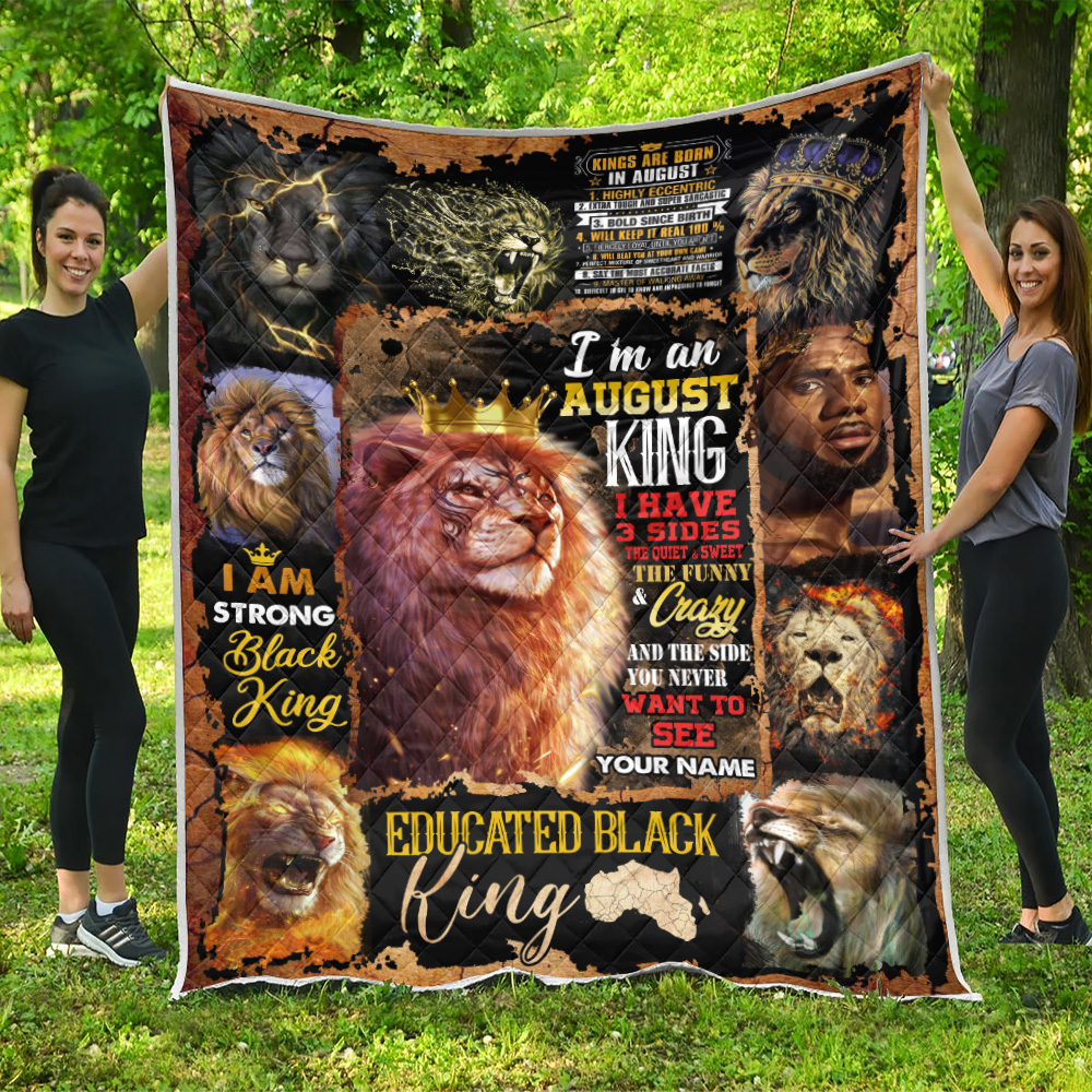 Personalized Quilt Throw Blanket I'm An August King Pattern 1 Lightweight Super Soft Cozy For Decorative Couch Sofa Bed