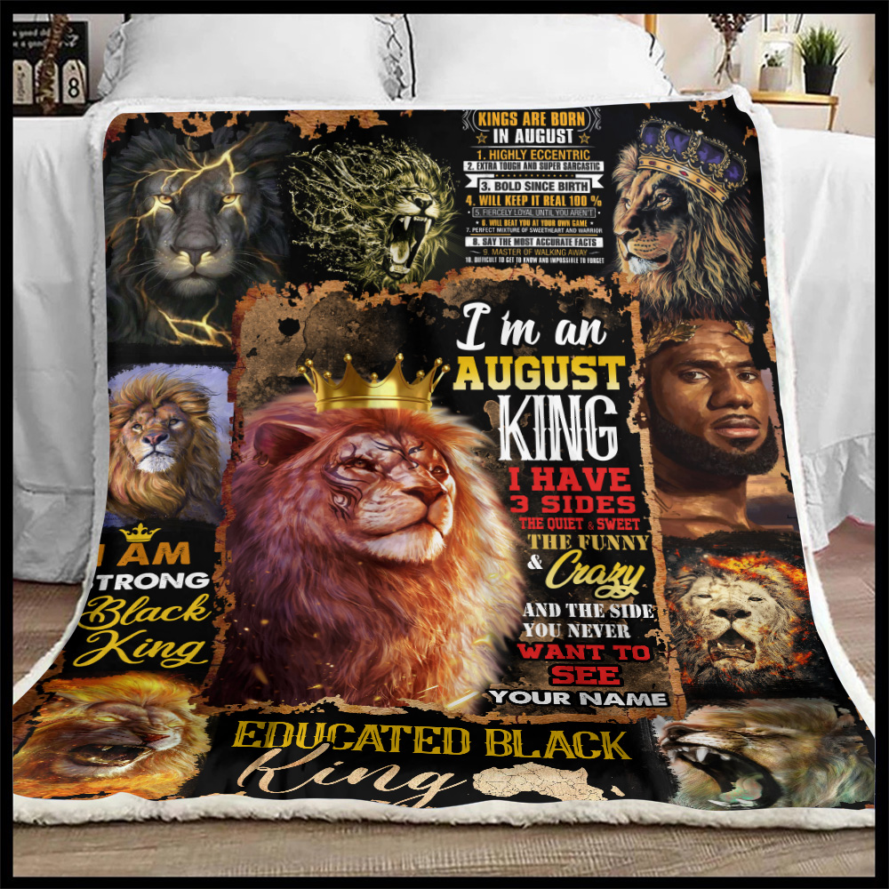 Personalized Fleece Throw Blanket I'm An August King Pattern 1 Lightweight Super Soft Cozy For Decorative Couch Sofa Bed