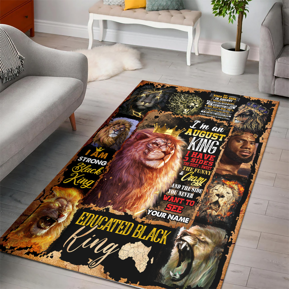 Personalized I'm An August King Pattern 1 Vintage Area Rug Anti-Skid Floor Carpet For Living Room Dinning Room Bedroom Office