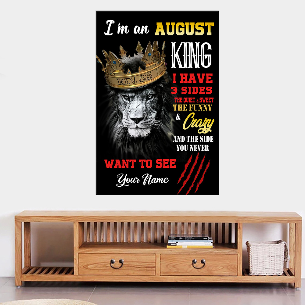 Personalized Wall Art Poster I'm An August King Pattern 2 Prints Decoracion Wall Art Picture Living Room Wall