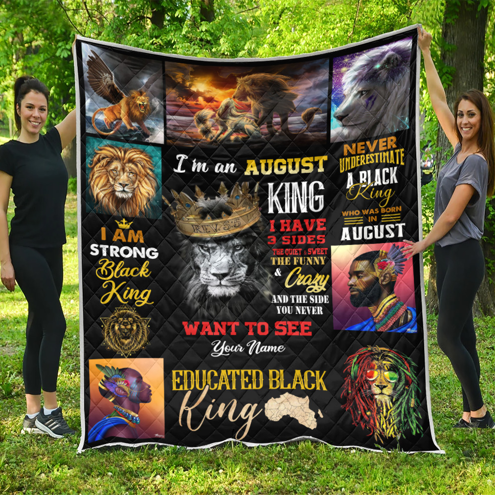Personalized Quilt Throw Blanket I'm An August King Pattern 2 Lightweight Super Soft Cozy For Decorative Couch Sofa Bed