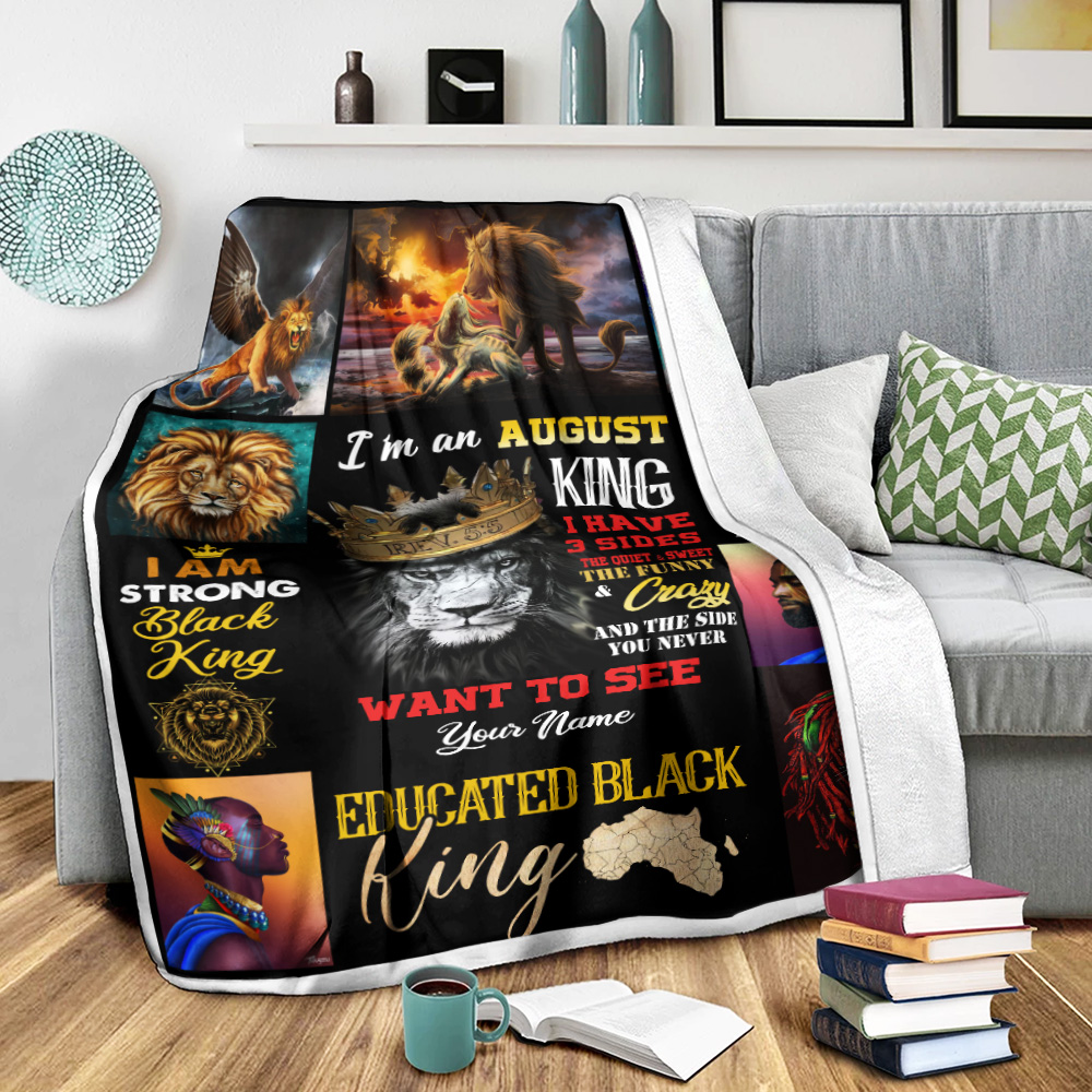 Personalized Fleece Throw Blanket I'm An August King Pattern 2 Lightweight Super Soft Cozy For Decorative Couch Sofa Bed