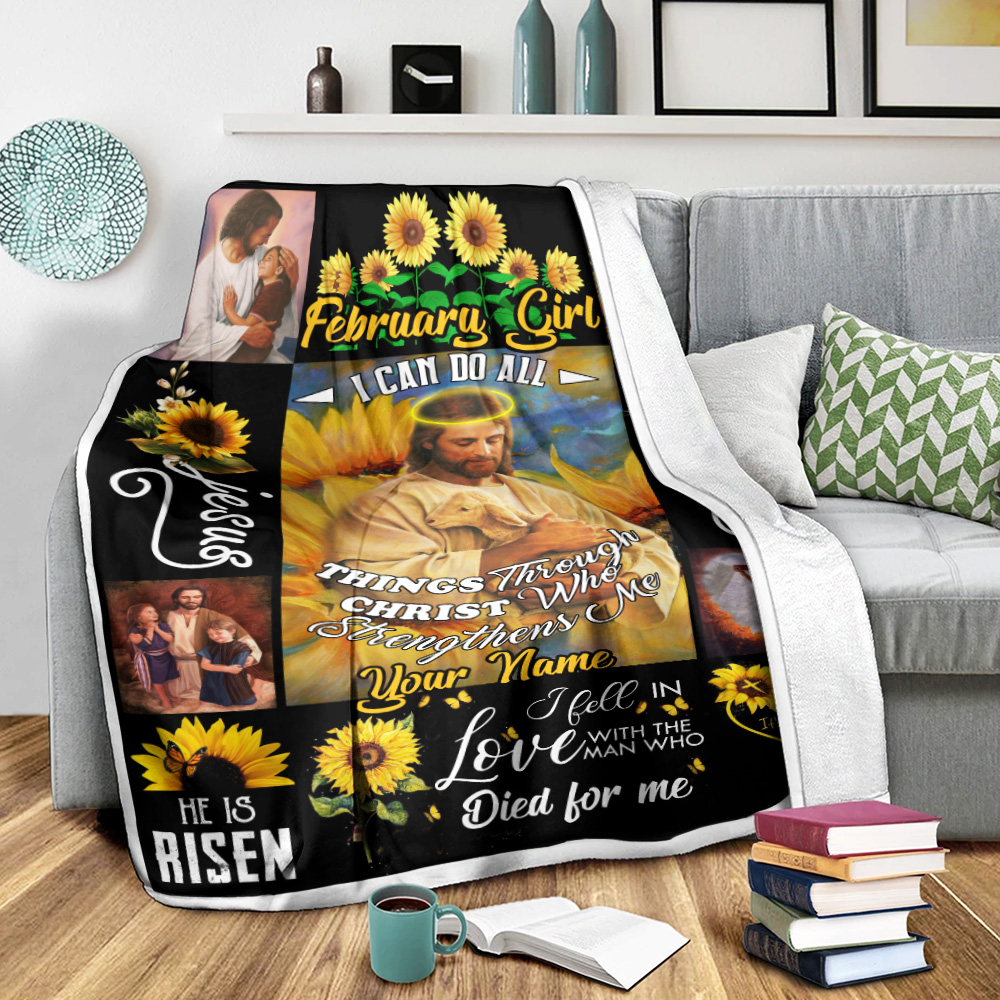 Personalized Fleece Throw Blanket February Girl I Can Do All Things Pattern 2 Lightweight Super Soft Cozy For Decorative Couch Sofa Bed
