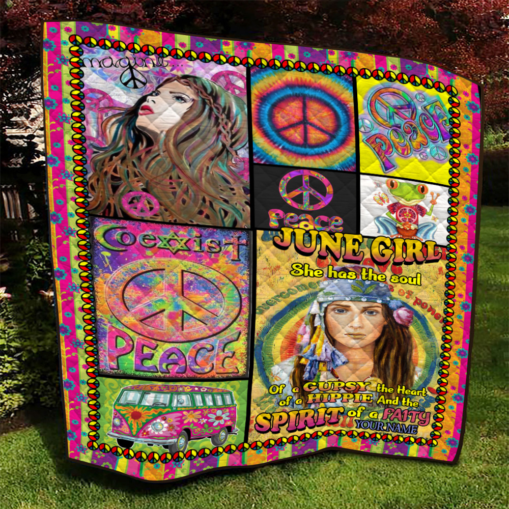 Personalized Quilt Throw Blanket June Girl She Has The Soul , The Hear And The Spirit Of A Fairy Pattern 1 Lightweight Super Soft Cozy For Decorative Couch Sofa Bed