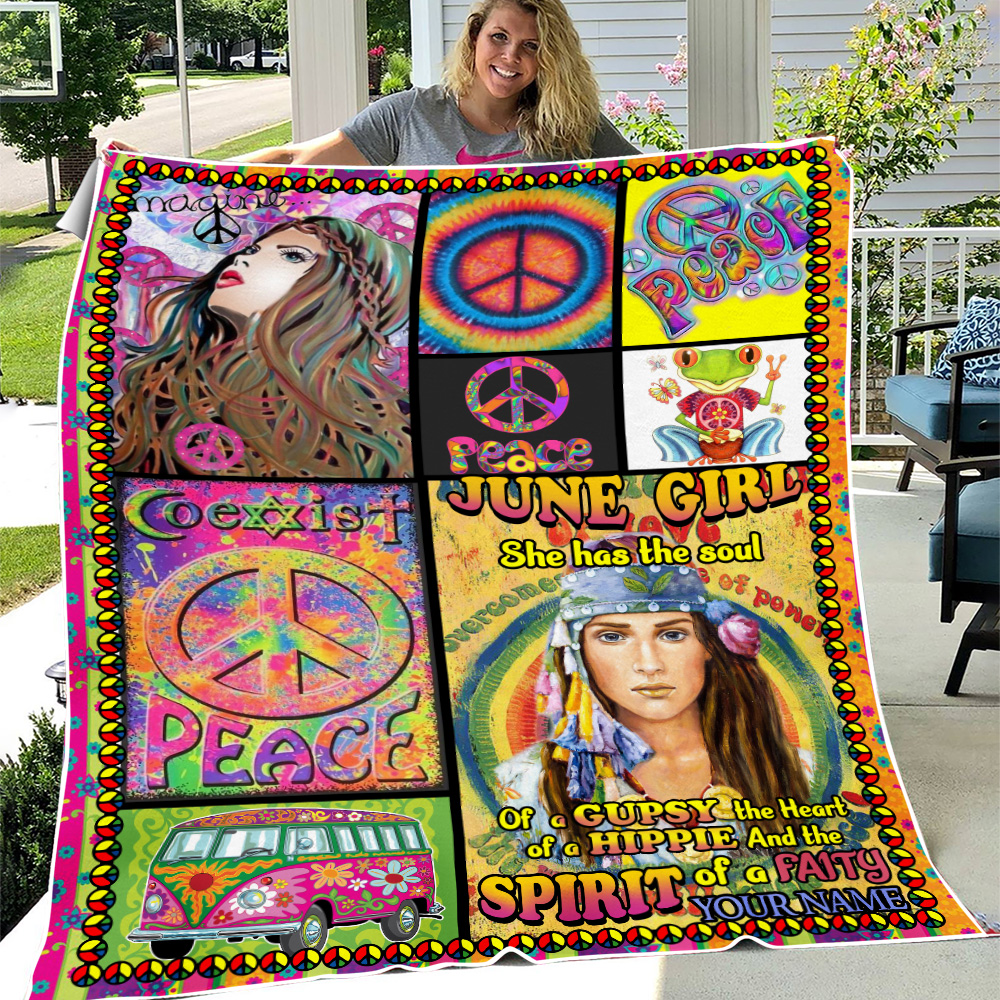 Personalized Fleece Throw Blanket June Girl She Has The Soul , The Hear And The Spirit Of A Fairy Pattern 1 Lightweight Super Soft Cozy For Decorative Couch Sofa Bed