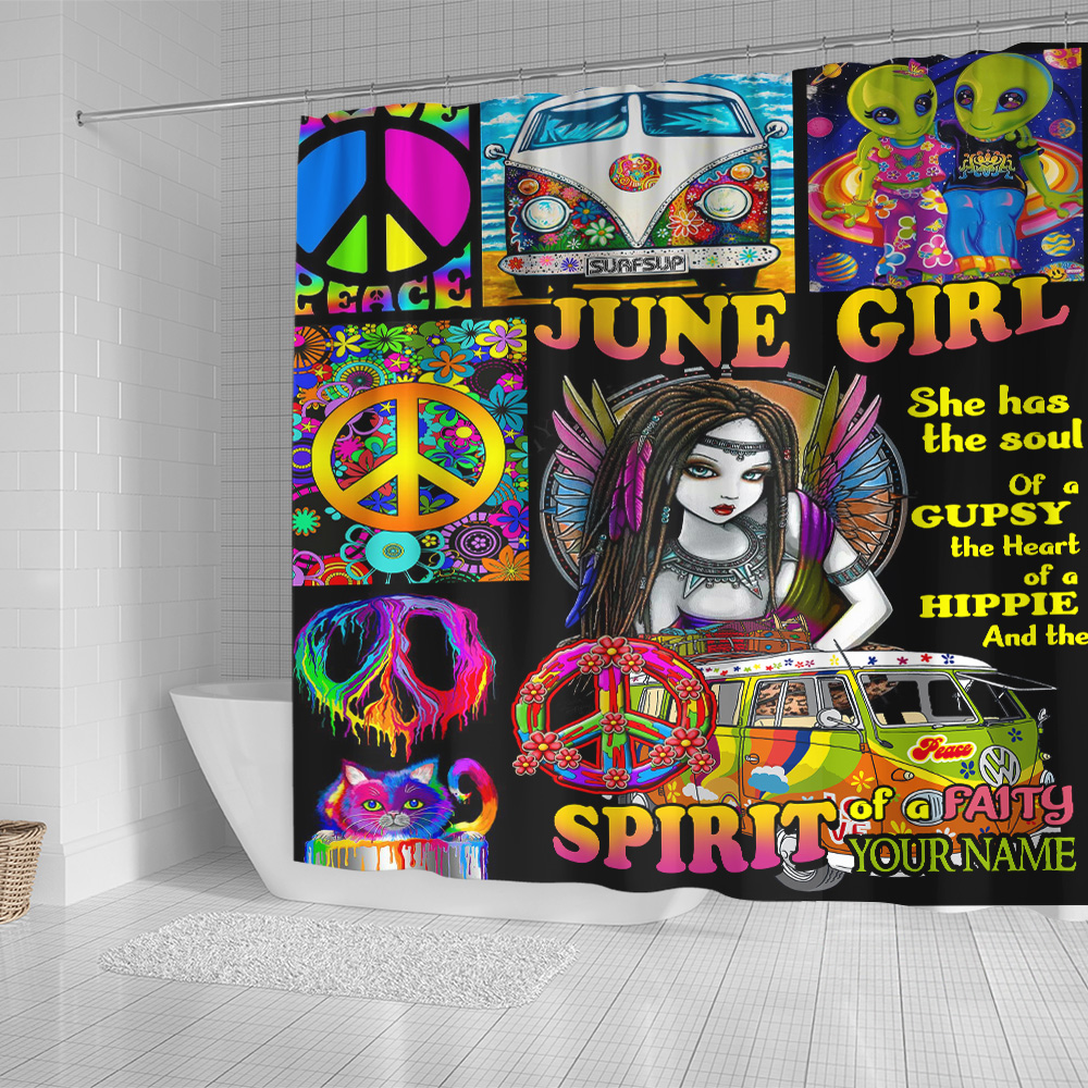 Personalized Shower Curtain June Girl She Has The Soul , The Hear And The Spirit Of A Fairy Pattern 2 Set 12 Hooks Decorative Bath Modern Bathroom Accessories Machine Washable