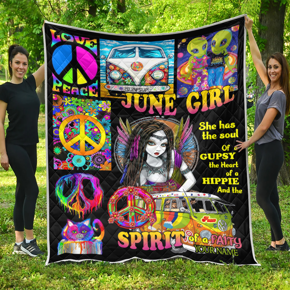 Personalized Quilt Throw Blanket June Girl She Has The Soul , The Hear And The Spirit Of A Fairy Pattern 2 Lightweight Super Soft Cozy For Decorative Couch Sofa Bed