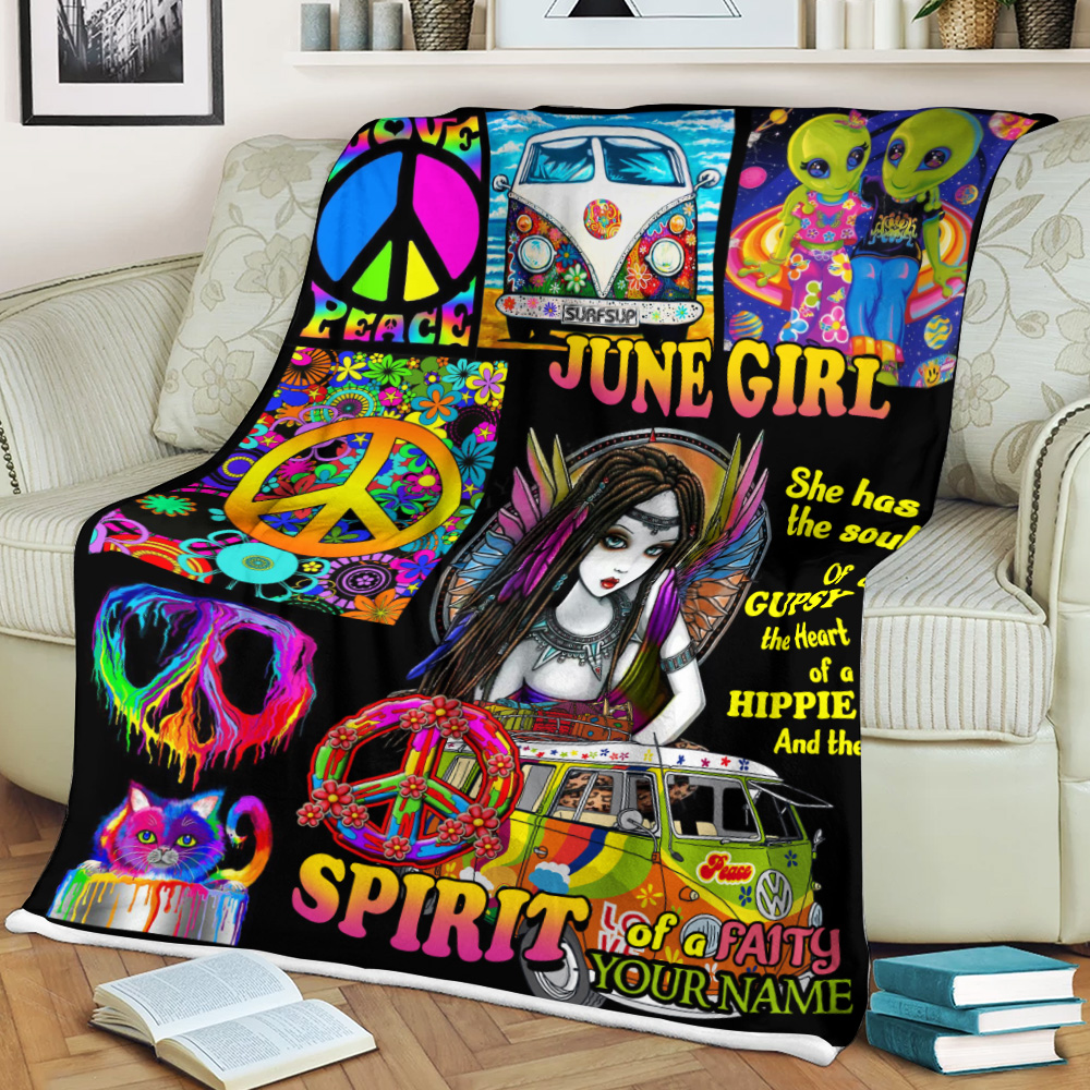 Personalized Fleece Throw Blanket June Girl She Has The Soul , The Hear And The Spirit Of A Fairy Pattern 2 Lightweight Super Soft Cozy For Decorative Couch Sofa Bed